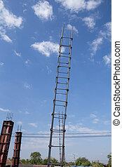 Reinforced steel bars on construction pillar