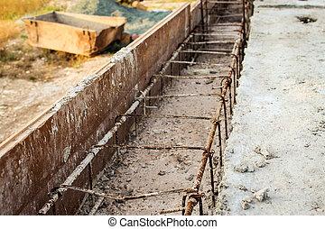 reinforcement., たたきつける, foundation., 建設, の, 建物。