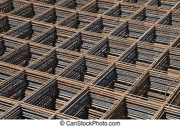 Reinforcing bar mesh - Stack of reinforcing bar mesh in a ...