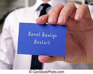 reiniciar, empresa / negocio, sheet., significado, realign, concepto, restablecer, frase
