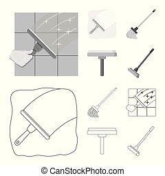 reiniger, illustration., besen, wischmop, sammlung, vektor, design, logo., bestand