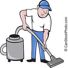 reiniger, mann, putzen, staubsaugen, vakuum