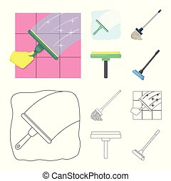 reiniger, satz, illustration., besen, wischmop, vektor, design, zeichen., bestand