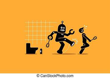 reiniger, seine, hausmeister, weg, arbeiter, roboter, arbeit, putzen, menschliche , tritte, toilet.