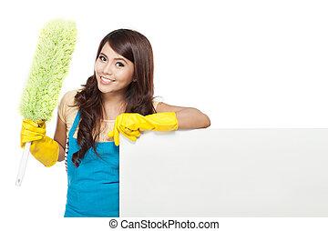 reinigingsdienst, vrouw, het voorstellen, leeg, plank
