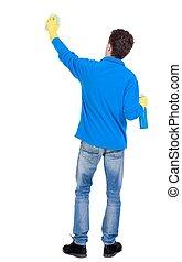 reinigingsmachine, detergent., back, spons, handschoenen, man, aanzicht