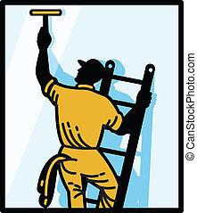 reinigingsmachine, ladder, arbeider, venster, retro, poetsen