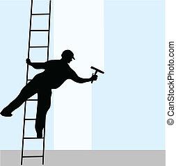 reinigingsmachine, ladder, venster
