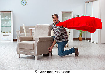reinigingsmachine, super held, werkende , thuis