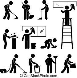 reinigingsmachine, vacuüm, arbeider, schoonmaken, wassen