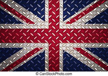 reino, acero, unido, placa, seamless, bandera, diamante