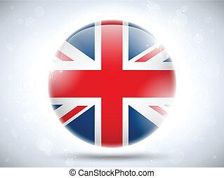 reino, bandeira, unidas, lustroso, botão