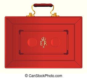 reino, caja, unido, presupuesto, rojo