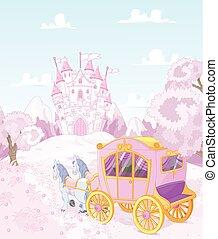 reino, carruaje, princesa, espalda