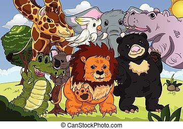 reino, cartaz, animal