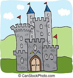 reino, castelo, fairytale, estilo, caricatura