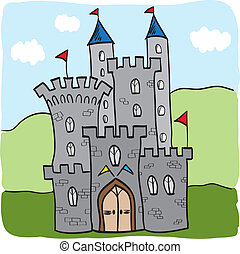 reino, castillo, fairytale, estilo, caricatura
