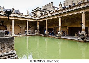 reino, ciudad, antiguo, baño, romano, unido, baños