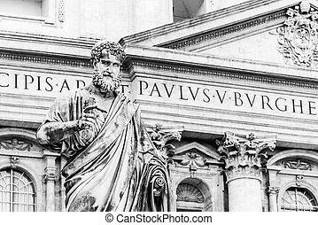 reino, ciudad, santo, heaven., llave, estatua, vaticano, peter