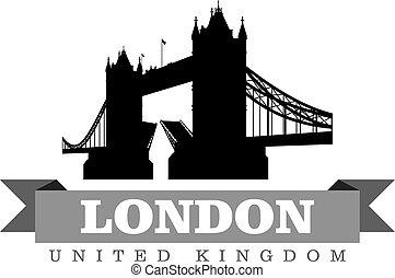 reino, ciudad, unido, símbolo, ilustración, vector, londres