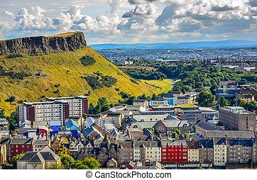 reino, edimburgo, unidas, citiscape, escócia, crags, casas, ...