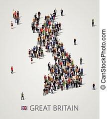 reino, grande, unido, grupo, forma, gente, map., grande, gran bretaña, presentation., plano de fondo