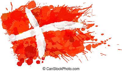 reino, hecho, colorido, bandera dinamarca, salpicaduras