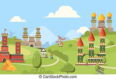 reino, ladrillos, vector, medieval, calle, viejo, madera, ...