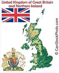 reino, mapa, bandeira, unidas, agasalho