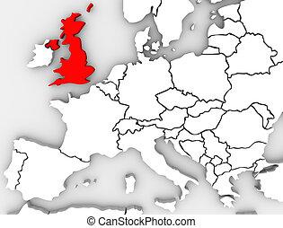 reino, mapa, grande, unido, inglaterra, europa norteña, gran...
