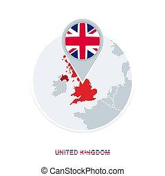 reino, mapa, unidas, bandeira, destacado, vetorial, reino unido, ícone