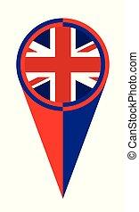 reino, mapa, unidas, bandeira, localização, ponteiro