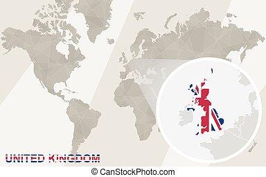 reino, mapa, unidas, flag., map., zoom, mundo