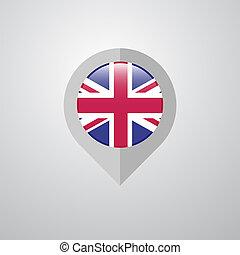 reino, mapa, unidas, ponteiro, bandeira, vetorial, desenho, navegação