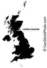 reino, mapa, unidas, silueta, fundo, branca