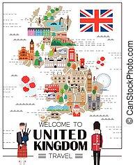 reino, mapa, viagem, unidas