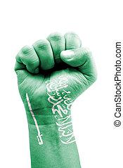 reino, pintado, aislado, bandera, saudí, puño, arabia,...