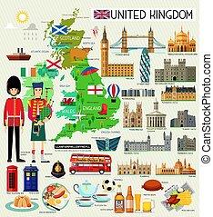 reino, unidas, viagem, vetorial, map., illustration.