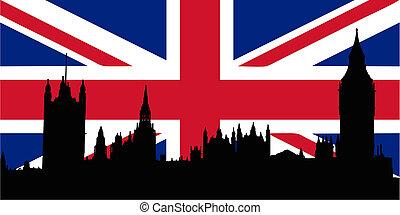 reino unido, bandera, y, casas, de, el, parliamen