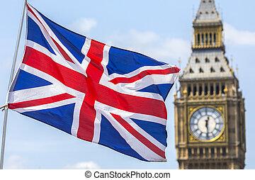 reino unido, bandera, y, el, cámaras del parlamento