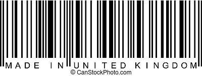 reino, unido, -, barcode, hecho