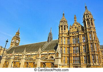reino, unido, ben, grande, palacio, westminster, londres
