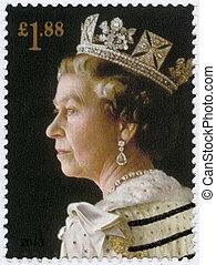 reino, unido, elizabeth, ella, majestad, estampilla, 60th, reina, -, aniversario, 2013:, impreso, ii, retrato, hacia, coronación, 2013, exposiciones
