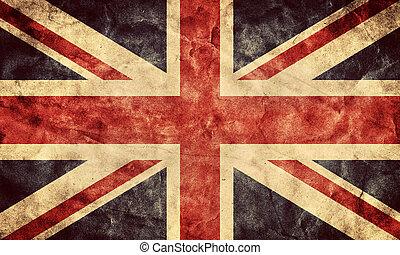 reino, unido, grunge, flag., vendimia, artículo, banderas,...