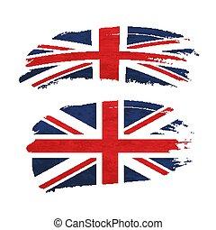 reino, unido, grunge, nacional, golpe, bandera, cepillo, ...