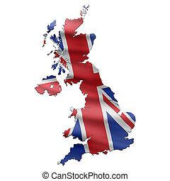 reino unido, mapa, con, bandera inglesa