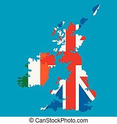 reino, unido, nacional, banderas, irlanda, islas