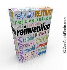 reinvention, プロダクト, パッケージ, 箱, 更新しなさい, 新たにしなさい, 生き返らせなさい