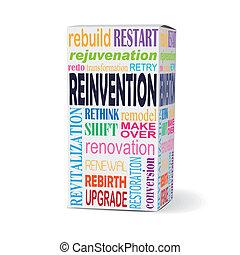 reinvention, caixa, palavra, produto