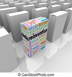 Reinvention words on one product, box or package to illustrate the competitive advantage of one business or company that has performed a rebuild, restart, redo, rejuvenation, revitalization, rethink, makeover or rebirth